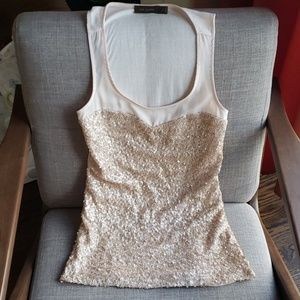 The Limited Champagne Sequin Tank